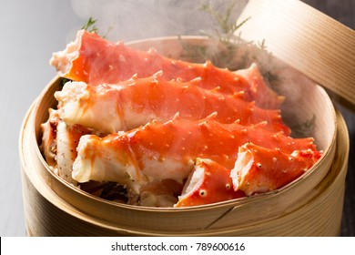 Boiled crab claws ,Japanese food, selective focus