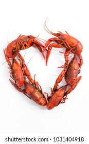 Boiled Crawfish Arranged in the Shape of a Heart