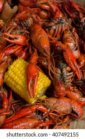Boiled Crawfish and Corn on the Cob
