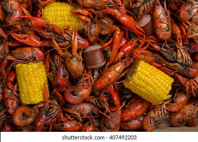 Boiled Crawfish, Corn on the Cob, and Sausage