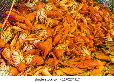 Boiled crawfish and crabs in a restaurant
