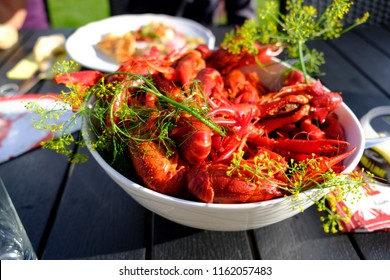 Boiled crawfish with dill