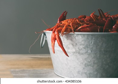 Boiled crawfish in a galvanized steel bucket against a gray background with claws hanging over the side.