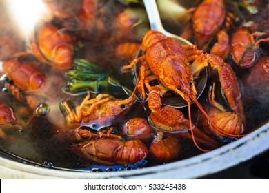 Boiled crawfish with spices. Selective focus