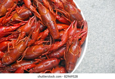 Boiled crawfish viewed from above