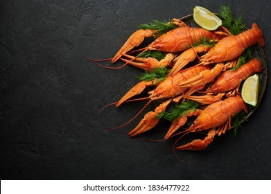 Boiled Crayfish on black plate on dark slate table top. Red crawfish with green dill and lime is popular party dish. Copy space. Top view
