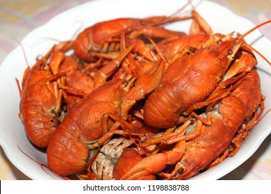 Boiled crayfish on a plate