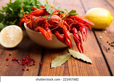 Boiled crayfish on the table