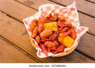 Boiled Crayfish/Crawfish, Corn And Potatoes