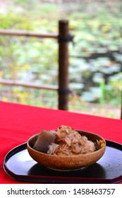 It is a boiled dish with bonito. In Japanese, it is called Oden.