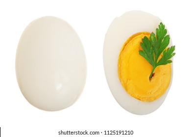 boiled egg and half isolated on white background. Top view. Flat lay