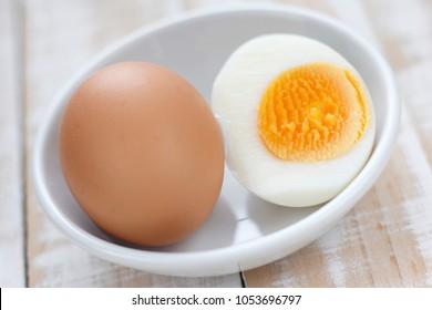 boiled egg, half-boiled egg