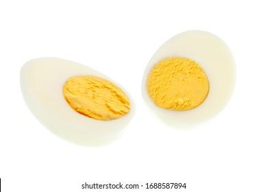boiled egg isolated on white background.