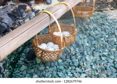 Boiled eggs by hot spring's heating in Kusatsu Onsen at Gunma Prefecture, Japan