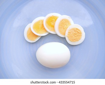 Boiled eggs, cut and boiled eggs