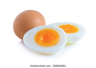 Boiled eggs cut in half isolated on white background.