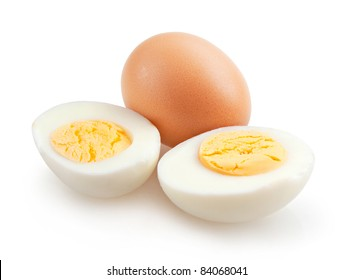boiled eggs isolated on white