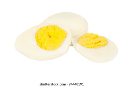 Boiled eggs isolated on white background