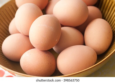 Boiled eggs on brown plate