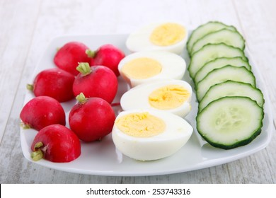 Boiled eggs with sliced cucumber and radish
