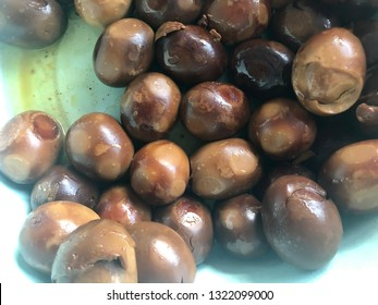Boiled Indonesian traditional brown chicken eggs, known as TELOR PINDANG COKLAT