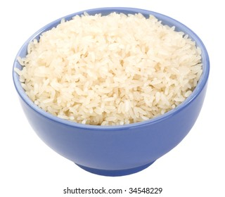 boiled long grain rice in lilac bowl close-up isolated on white background