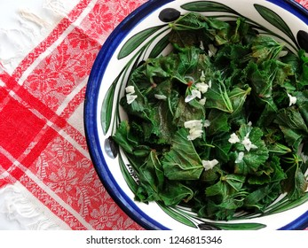 Boiled mallow leaves served with olive oil, lemon juice, garlic dressing, one of the typical dishes of Turkish  Aegean town Ayvalik.