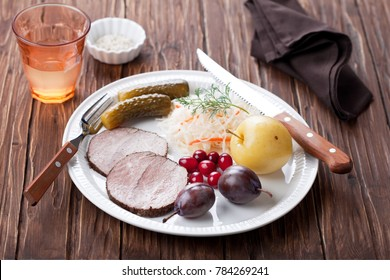 Boiled meat and traditional Russian fermented vegetables and fruits