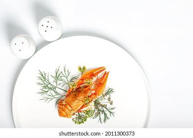 Gekochte orangefarbene Krabbe mit Dill auf einem weißen Teller auf Weiß. Köstliche Krebse mit aromatischem Dill und Gewürzen. Leere für das Menü. Bio-Wildnahrung. Kopiert Platz. Draufsicht