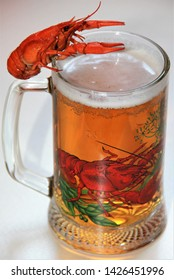 Boiled red crayfish. Crayfish on the glass of beer isolated on white background.