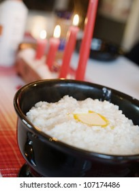 Boiled rice pudding and Advent candlestick, Sweden.
