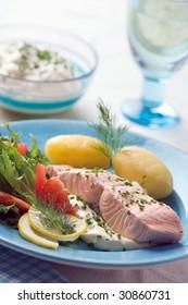 Boiled salmon with potato