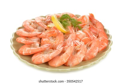 Boiled shrimp with lemon on white background