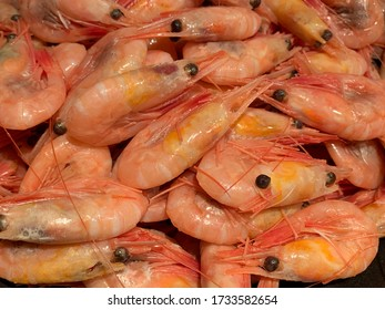 Boiled shrimp in a metal bowl. A large pink shrimp lies on a plate. Concept: sea delicacy, small crustaceans.