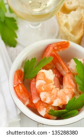 boiled shrimps in the bowl