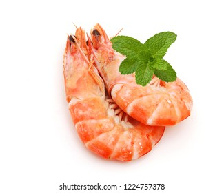 Boiled shrimps isolated on white background