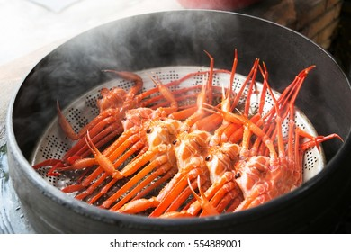 A lot of Boiled snow crab