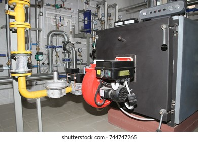 Boiler with a gas burner in the boiler room