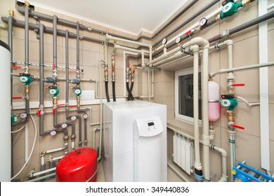 Boiler room equipment with deep pumps.