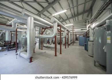 Boiler room. Piping system. Boiler units.