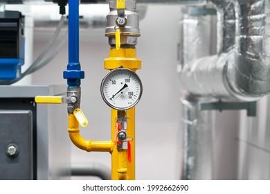 boiler room plant gas pressure meter tubes valves. Pressure gauge for monitoring