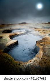 Boiling hot mud pool in Hverir, Iceland