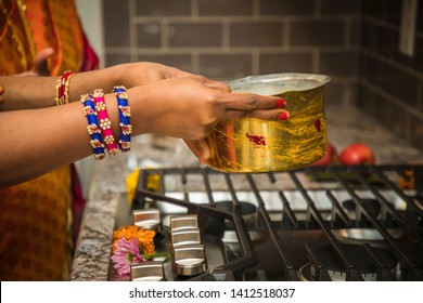 Boiling the Milk for Indian Traditional Housewarming. Paalu Ponginchadam Gruha Pravesam - Image