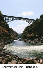 The Boiling Pot and Victoria Falls Bridge, landmarks along the Zambezi river and Victoria Falls, a UNESCO World Heritage Site at the border between Zambia and Zimbabwe