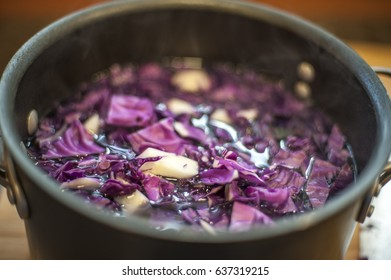 Boiling Red Cabbage for Blue Dye