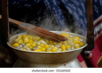 boiling silkworm cocoon prepare for silk