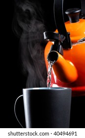 boiling water for delicious cup of coffee