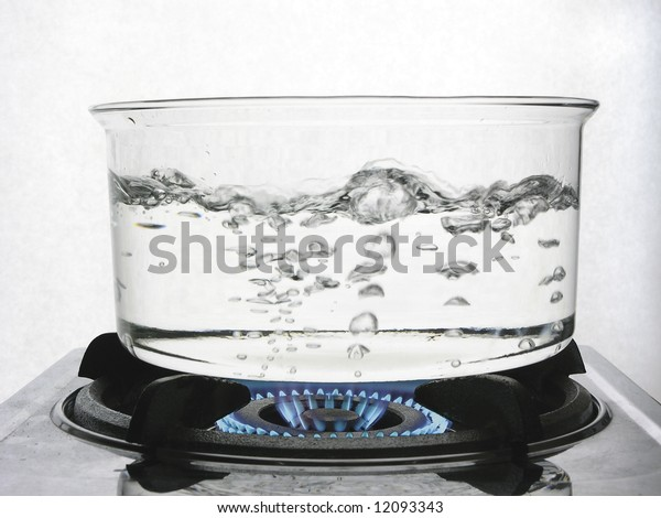 Boiling water on gas flame