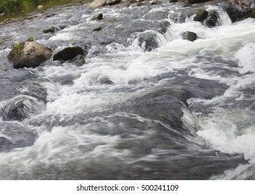 Boiling water over boulders in Wilson Creek in North Carolina