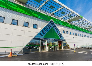 Bois-d'Arcy, France - December 30, 2020: Main entrance of a Leroy Merlin store, an international French retail company specializing in DIY and home improvement